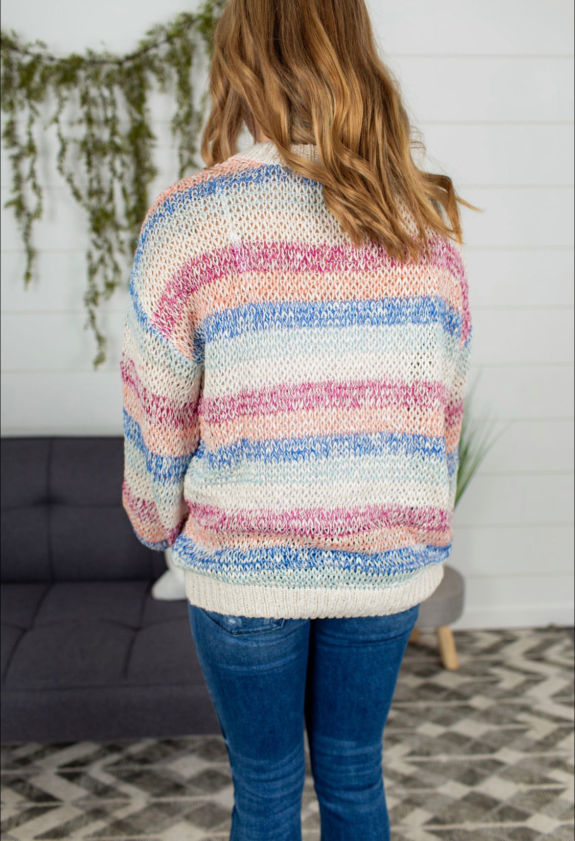 Long Sleeve Multi Color Sweater - Magenta/Blue