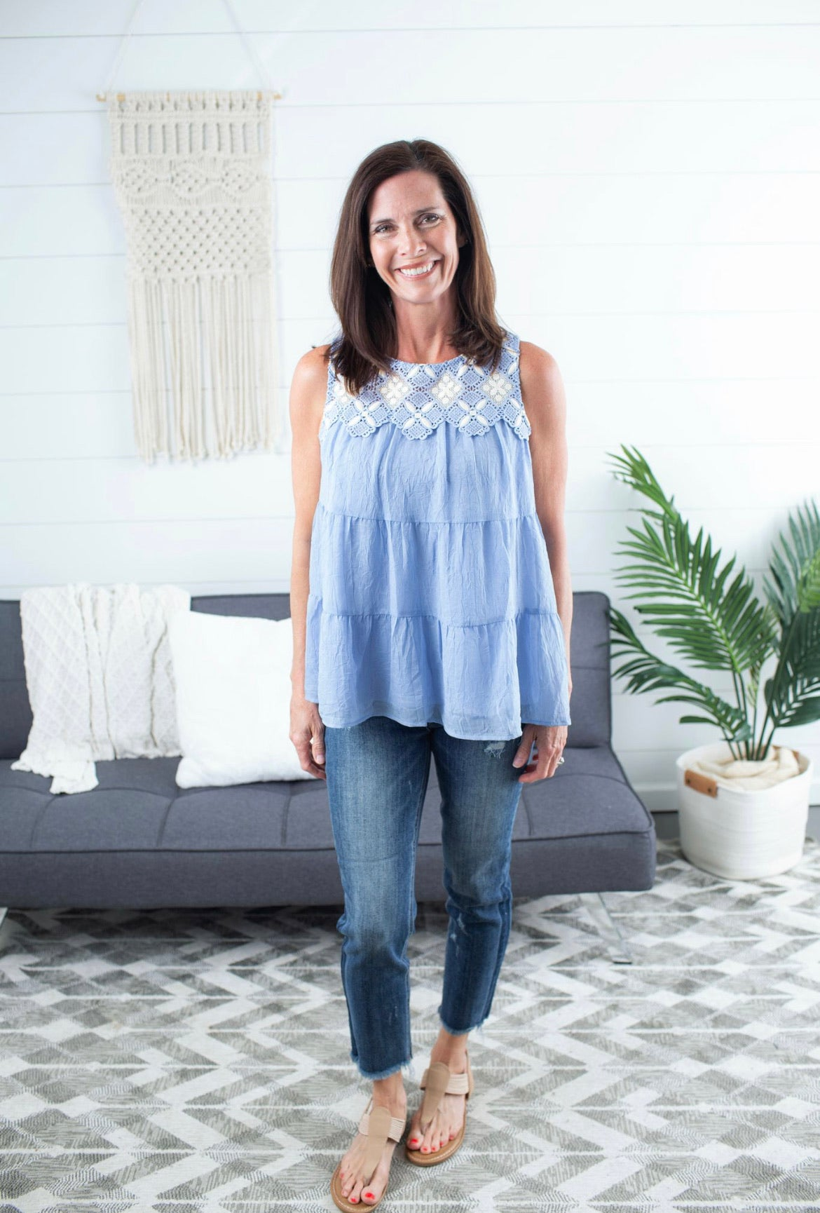 Tiered Top With Crochet Detail - Blue