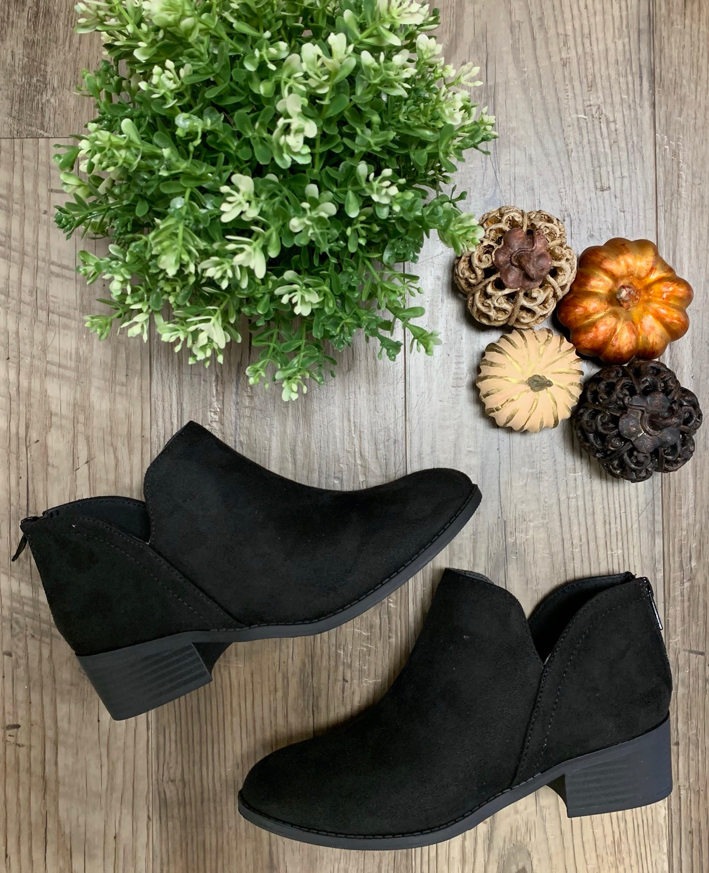 Suede Short Booties -  Black