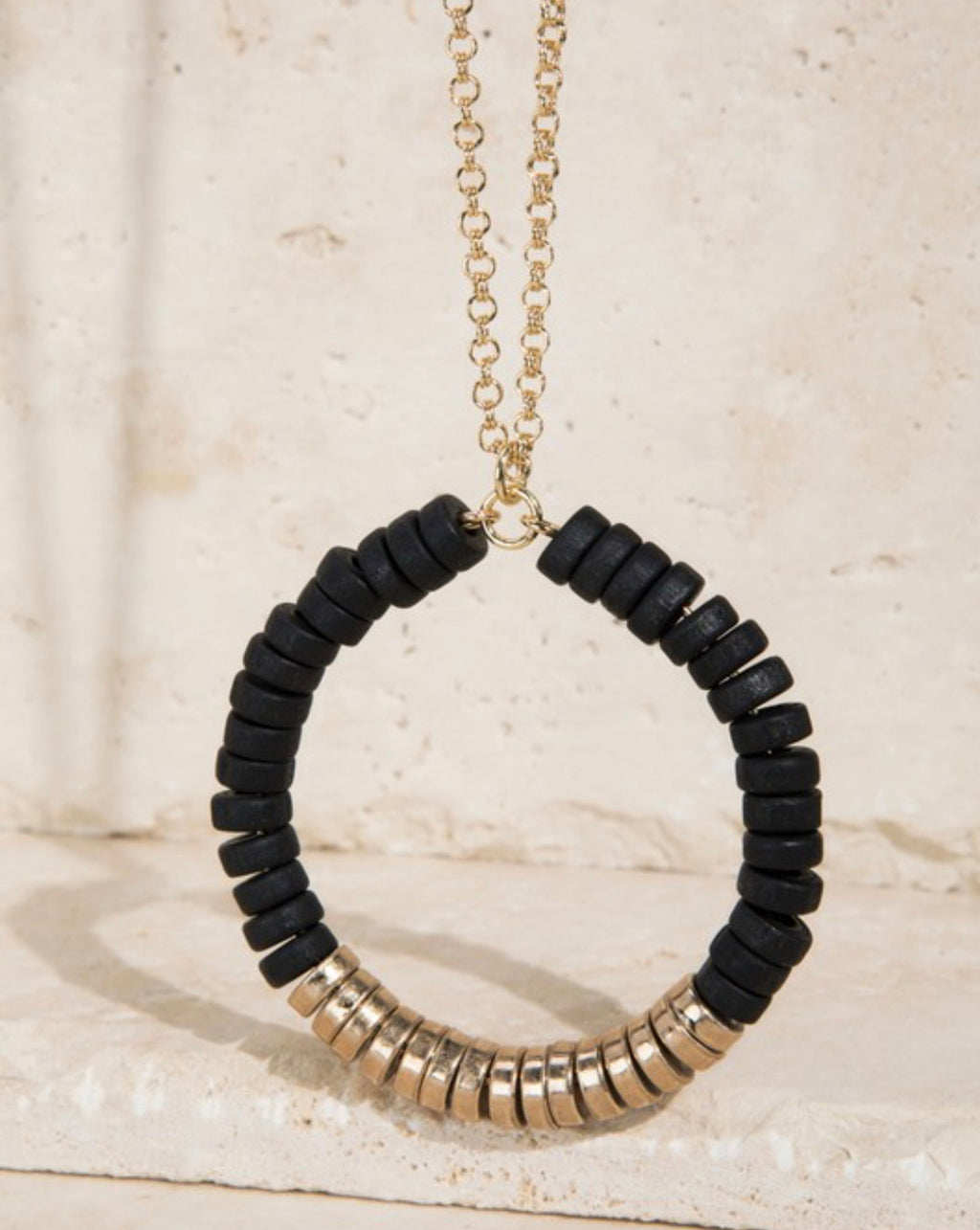 Wood and Satin Metal Bead Necklace - Black