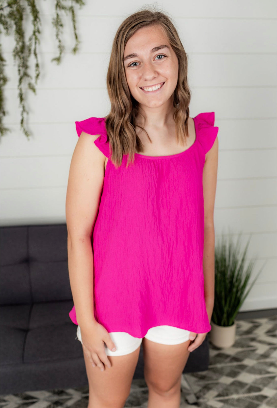 Ruffle Strap Top - Hot Pink