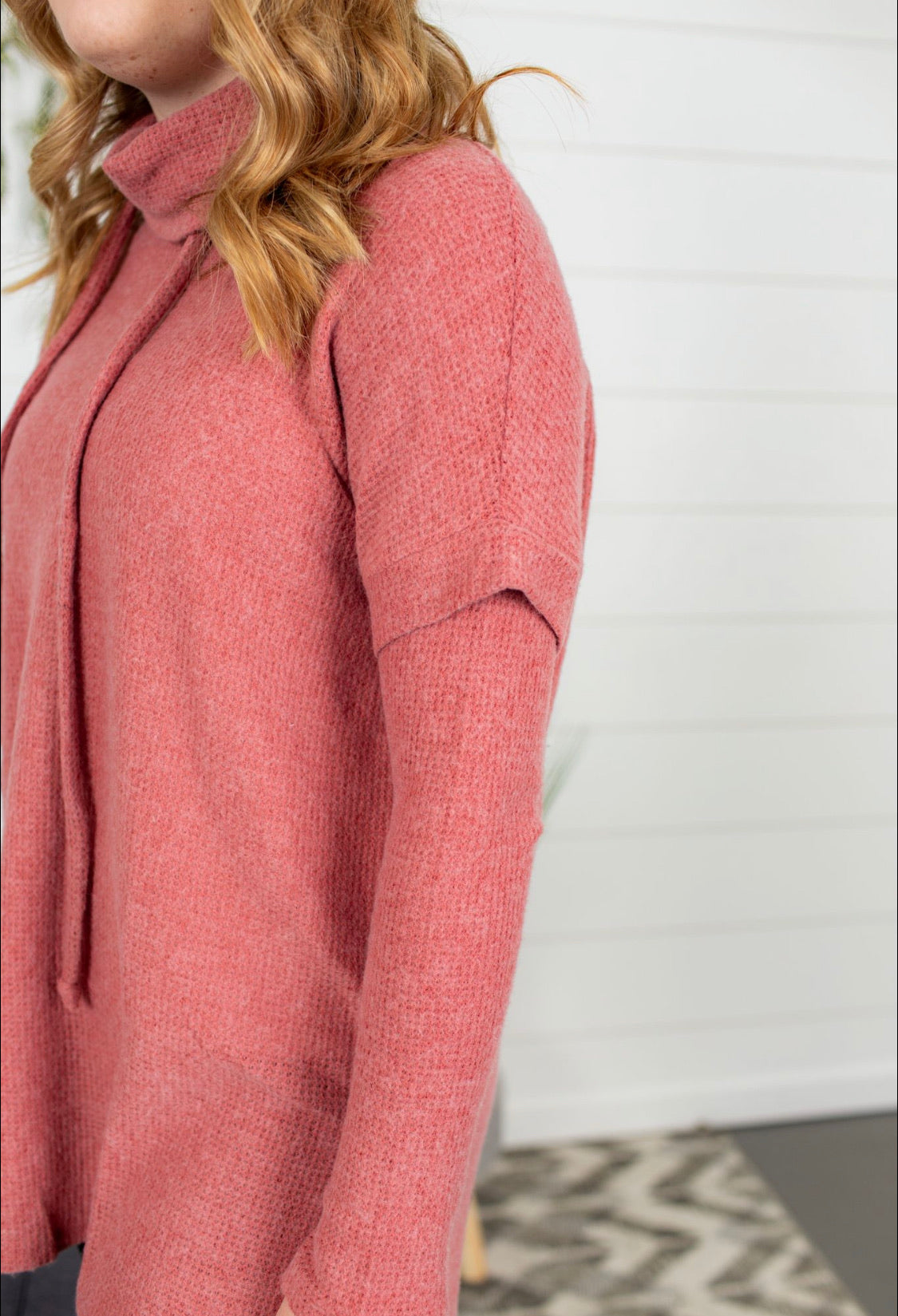 Loose Fit Cowl Neck Tunic - Brick