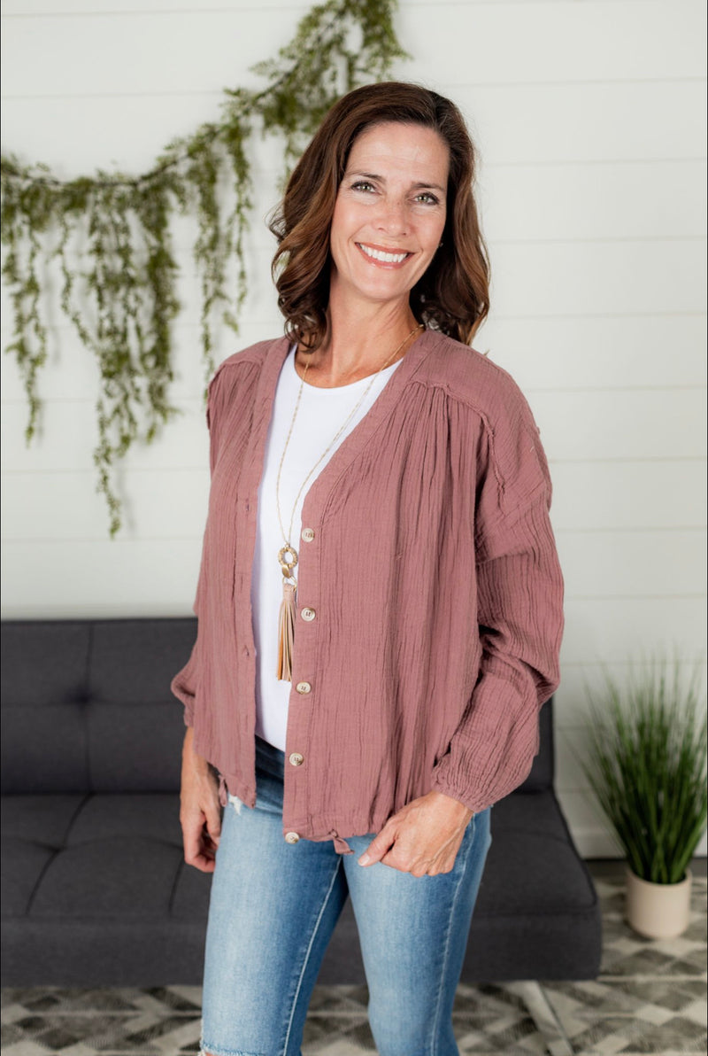 Button Down Jacket - Mauve