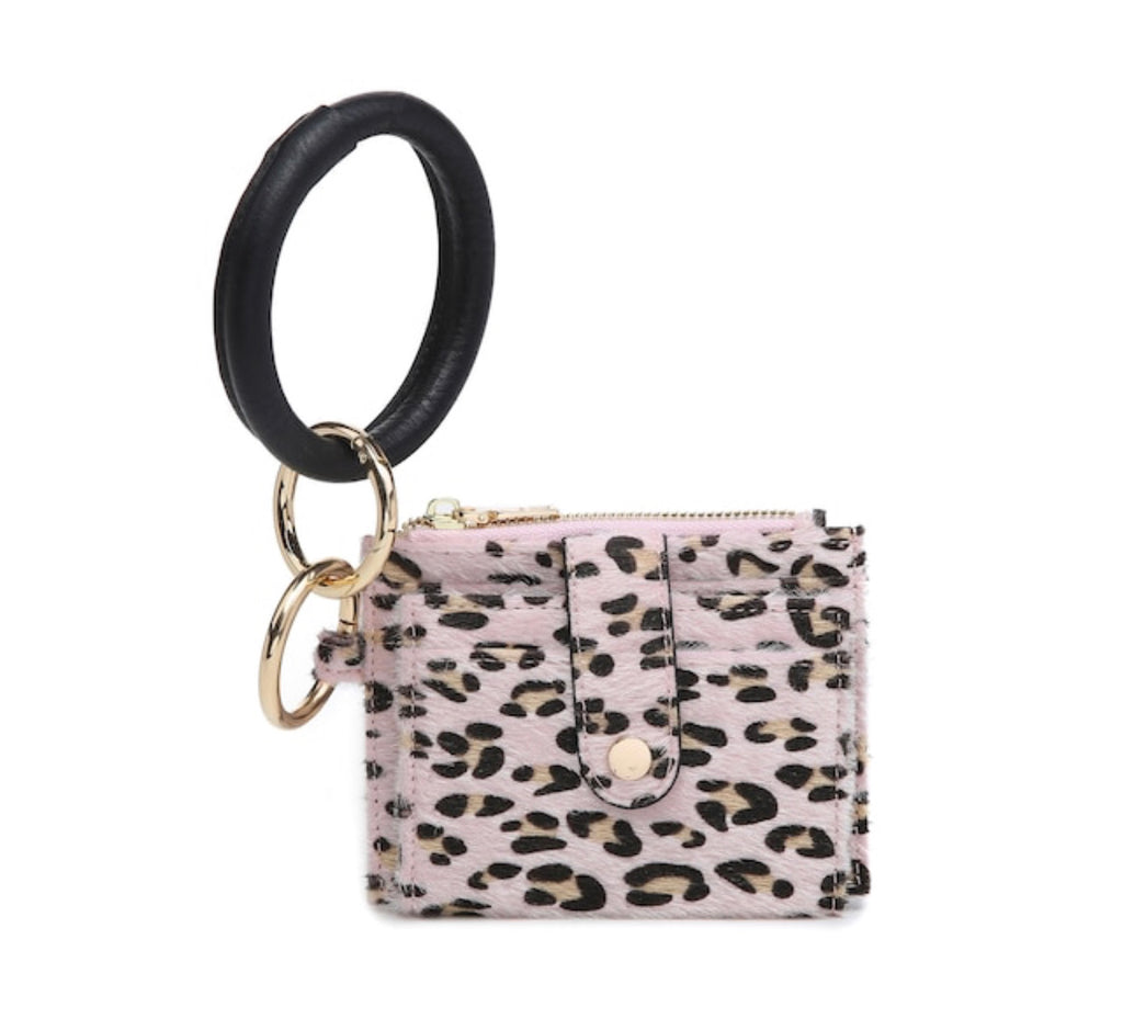 Mini Snap Wallet/Card Holder With Ring - Leopard Pink