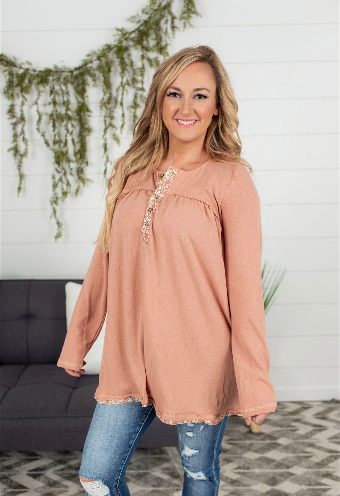 Button Front Henley Tunic - Apricot