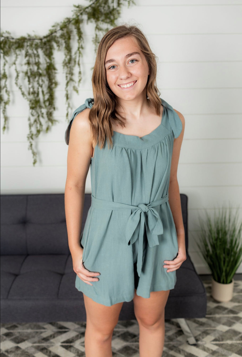 Sleeveless Romper - Teal