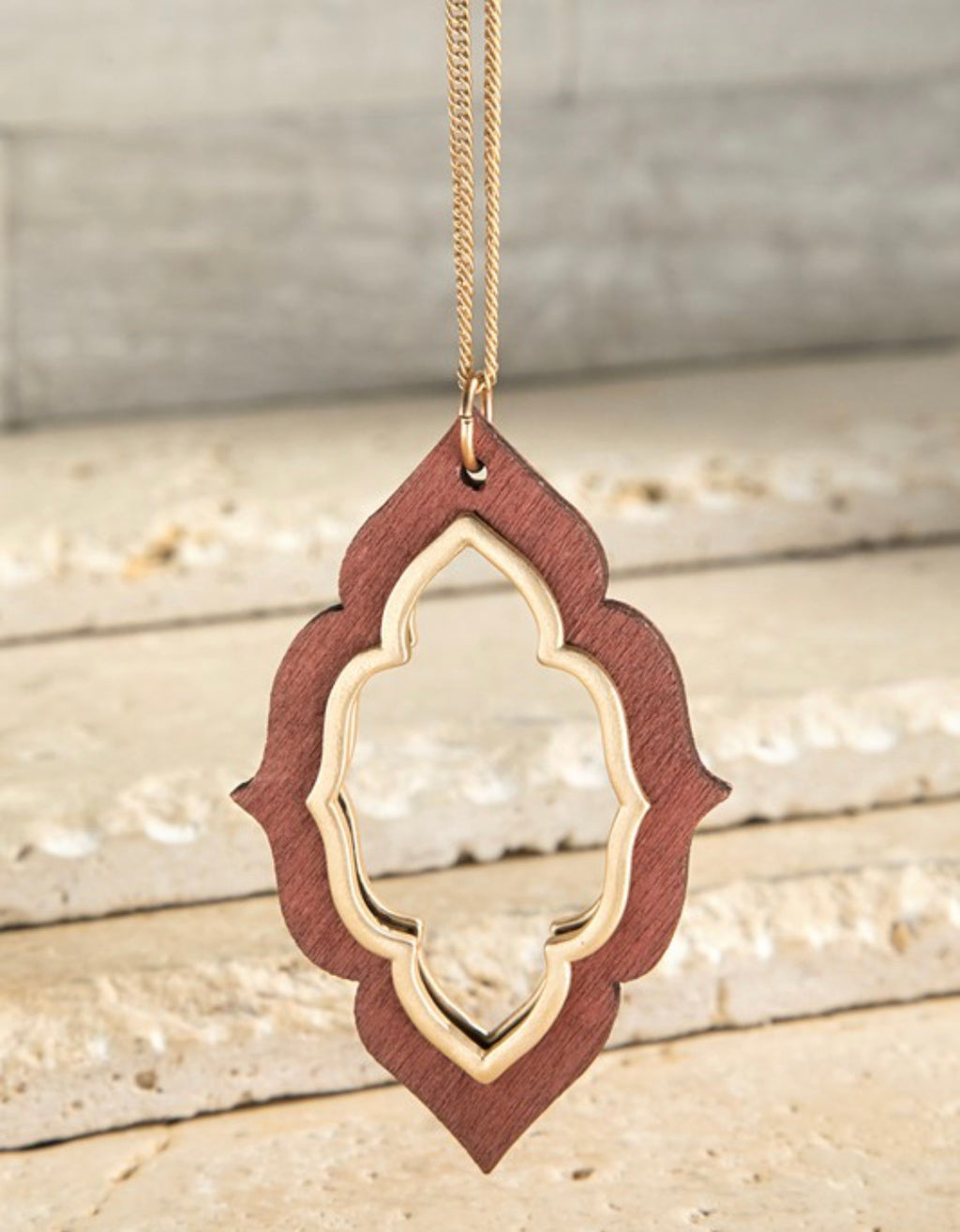 Wooden Marquee Necklace - Brown