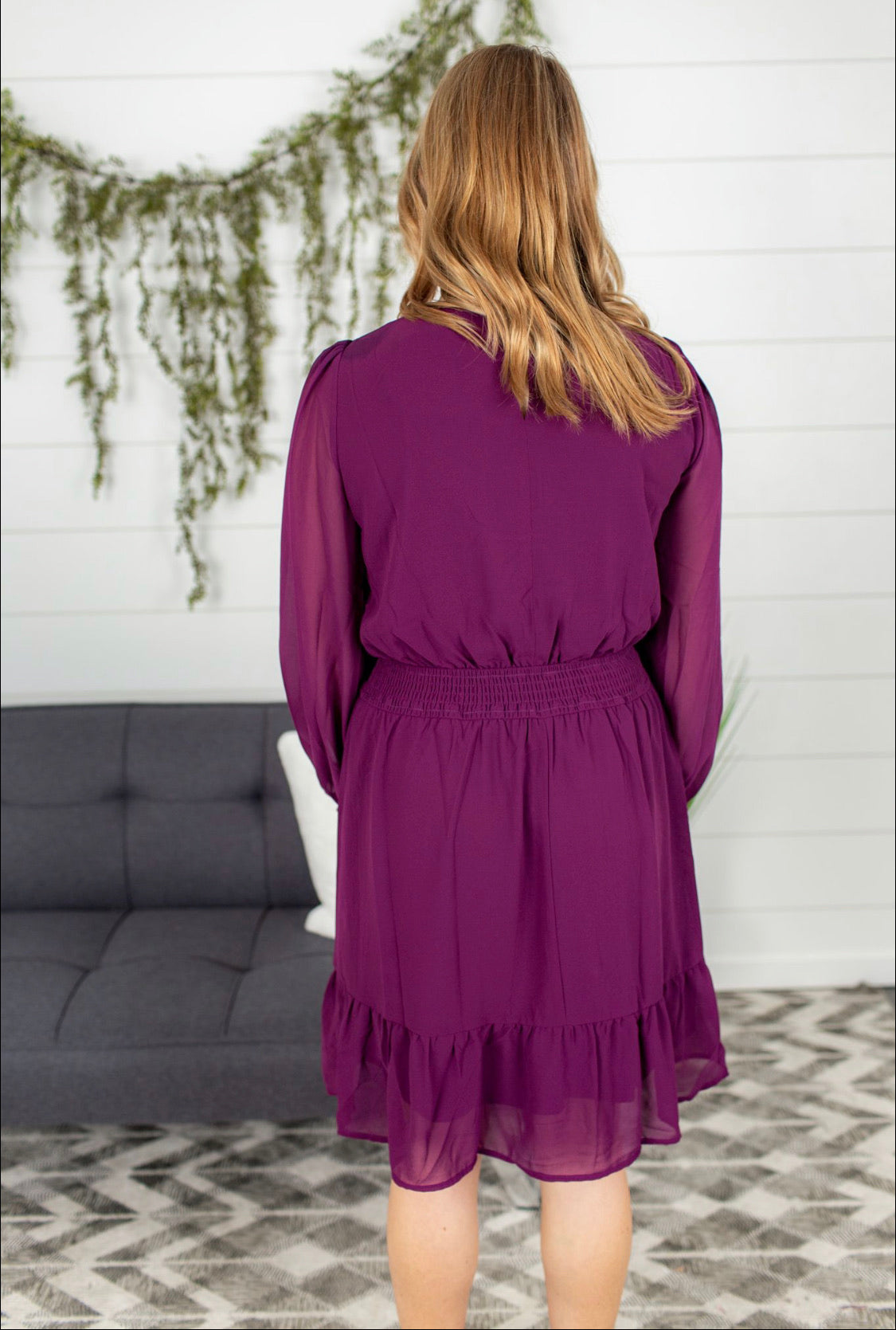 Smocked Waist Ruffle Dress - Plum