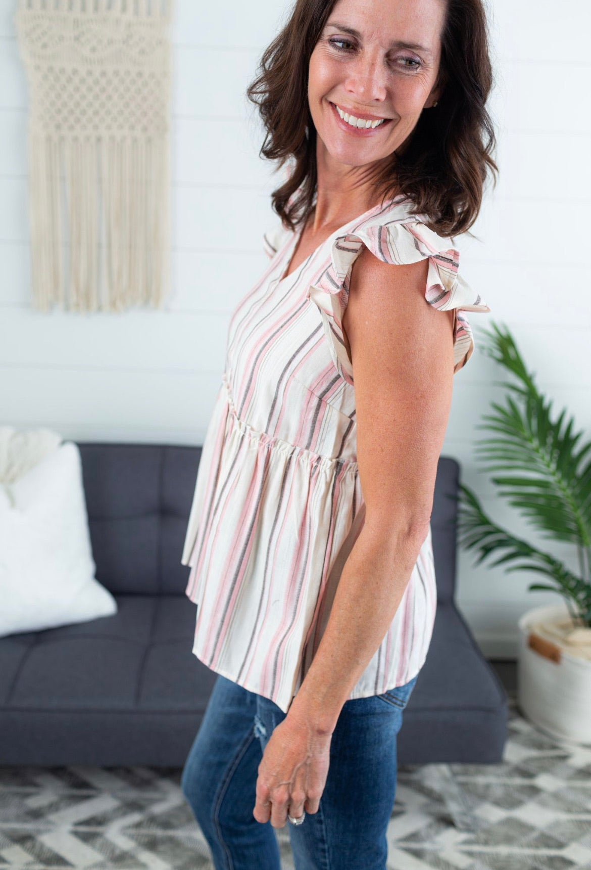 Stripe Babydoll Top With Flutter Sleeves