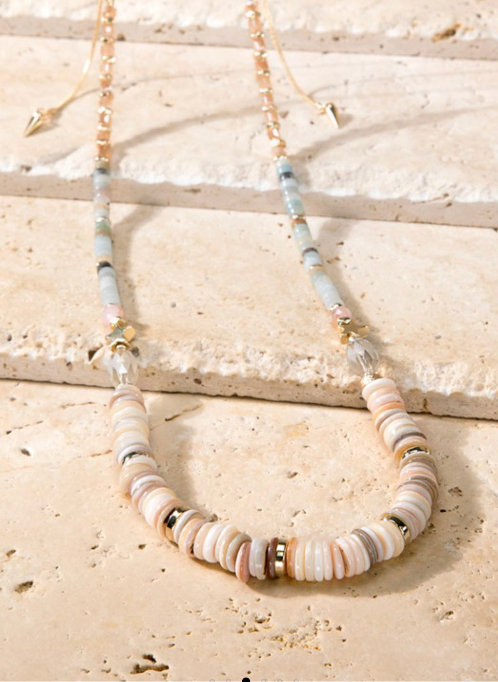 Natural Stone Necklace - Multi Light