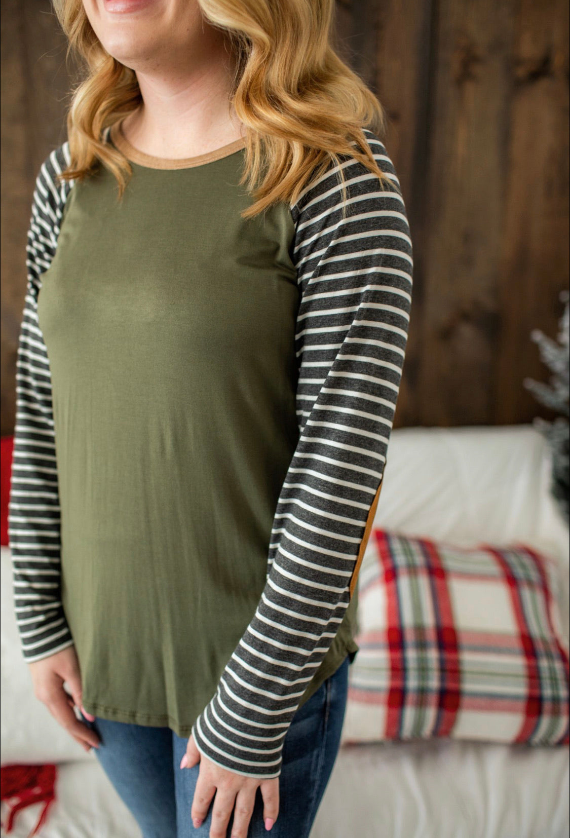 Elbow Patch Stripe Sleeve Top - Olive