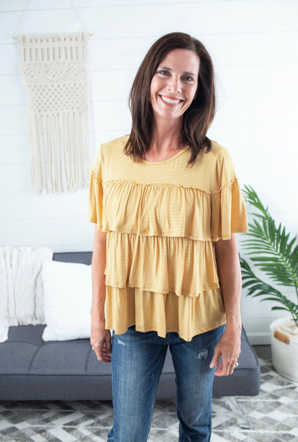 Striped Tiered Top - Mustard