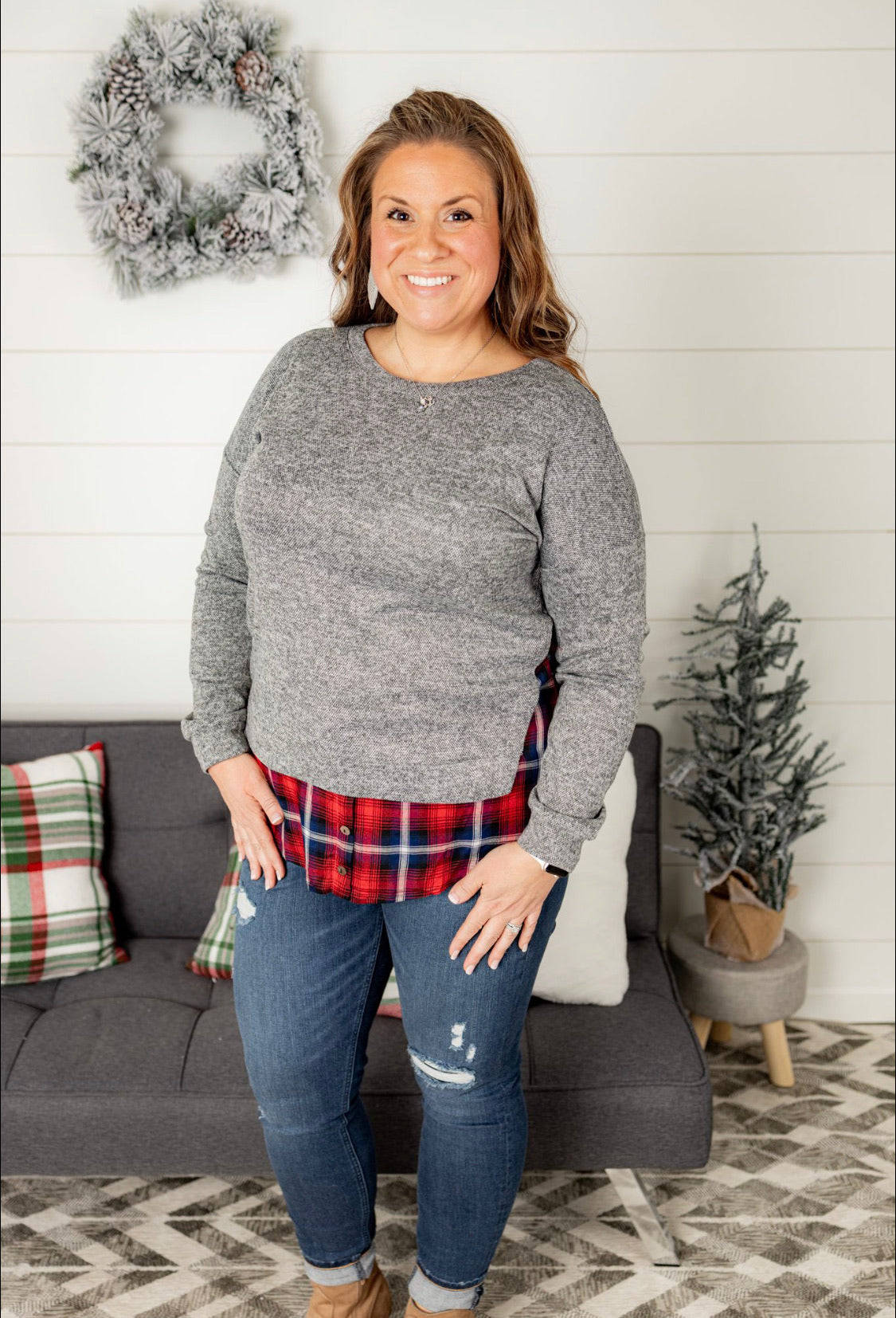 Sweater With Plaid Hem - Plus