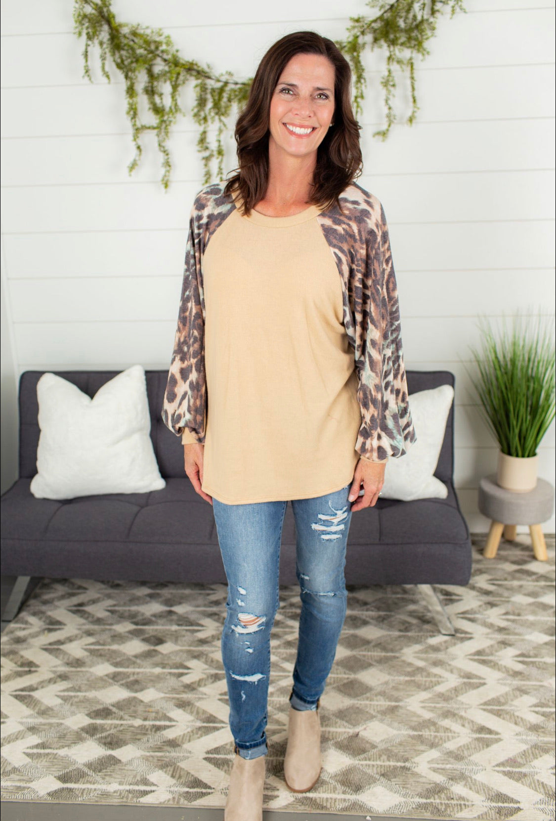Leopard Puff Sleeve Top - Taupe