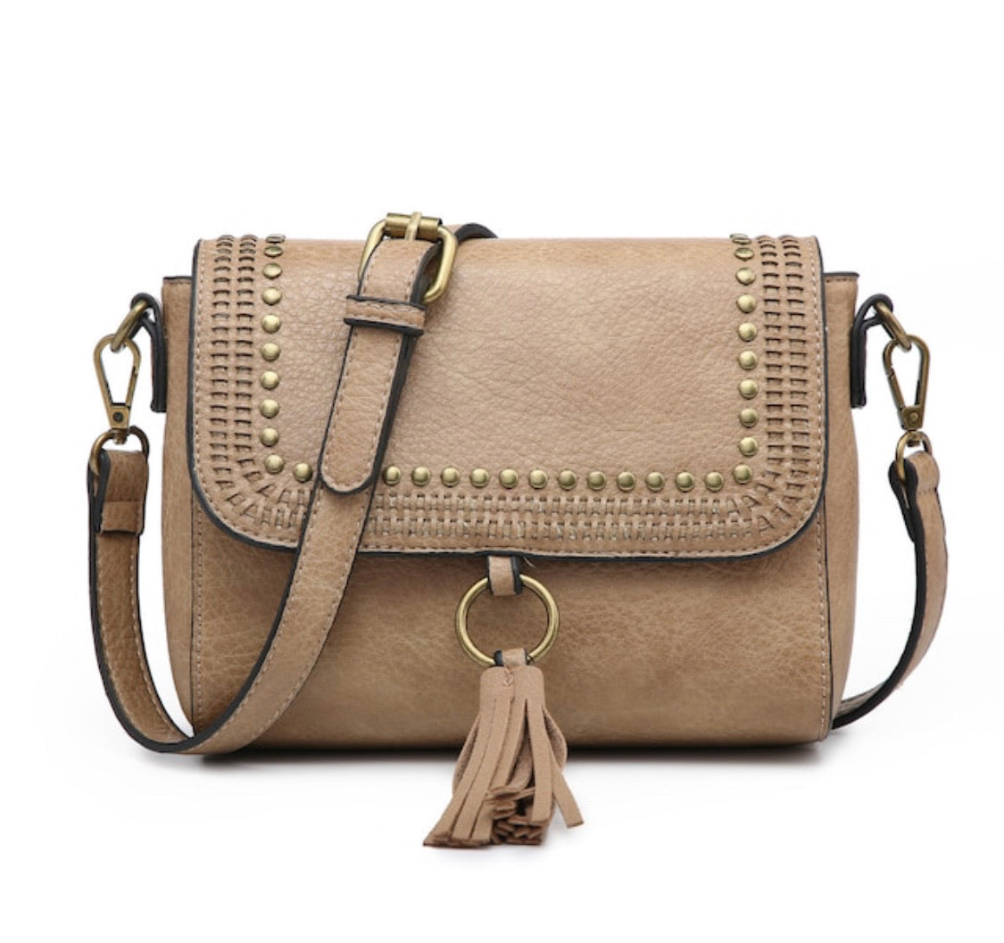 Studded Crossbody - Taupe