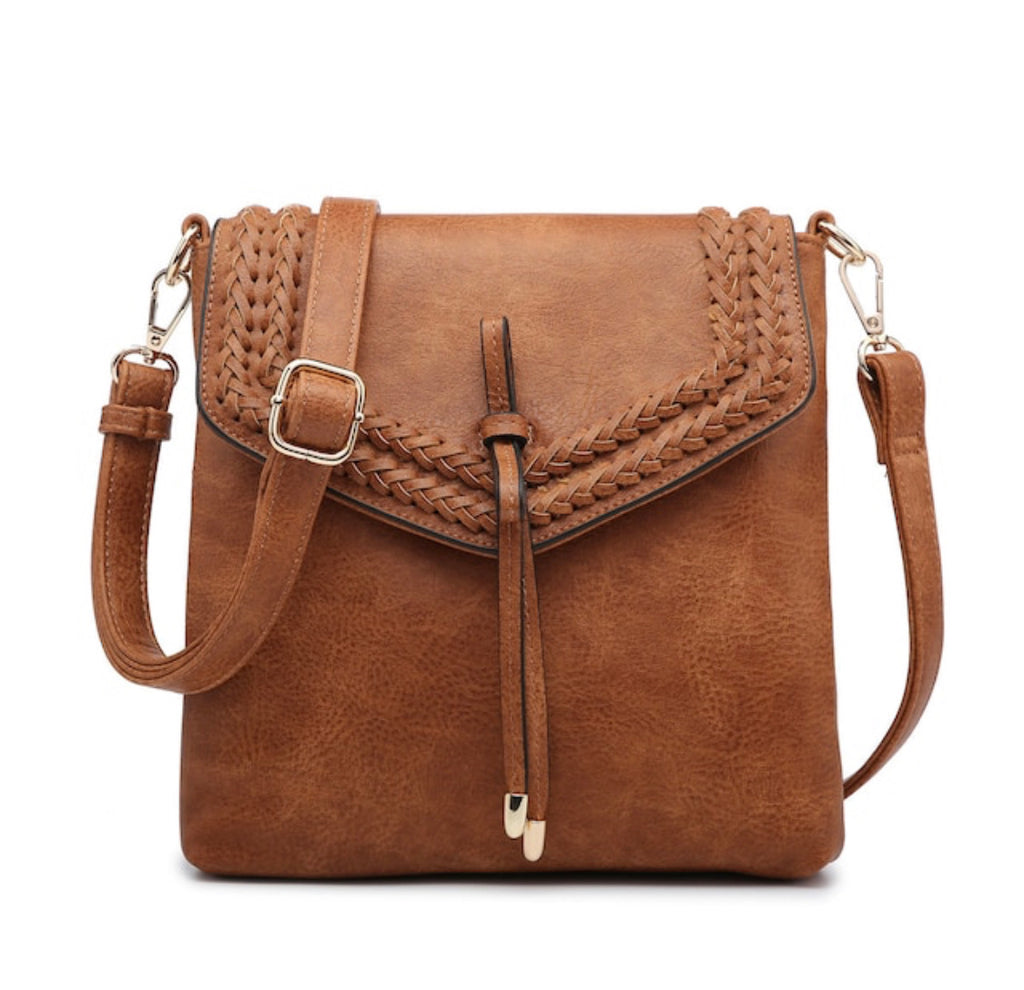 Flapover Braided Crossbody - Light Brown