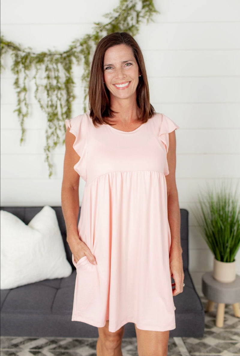 Ruffle Sleeve Babydoll Dress - Blush