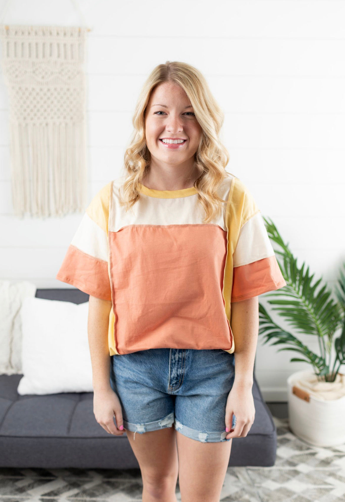 Color Block Stitch Detail Top - Rust