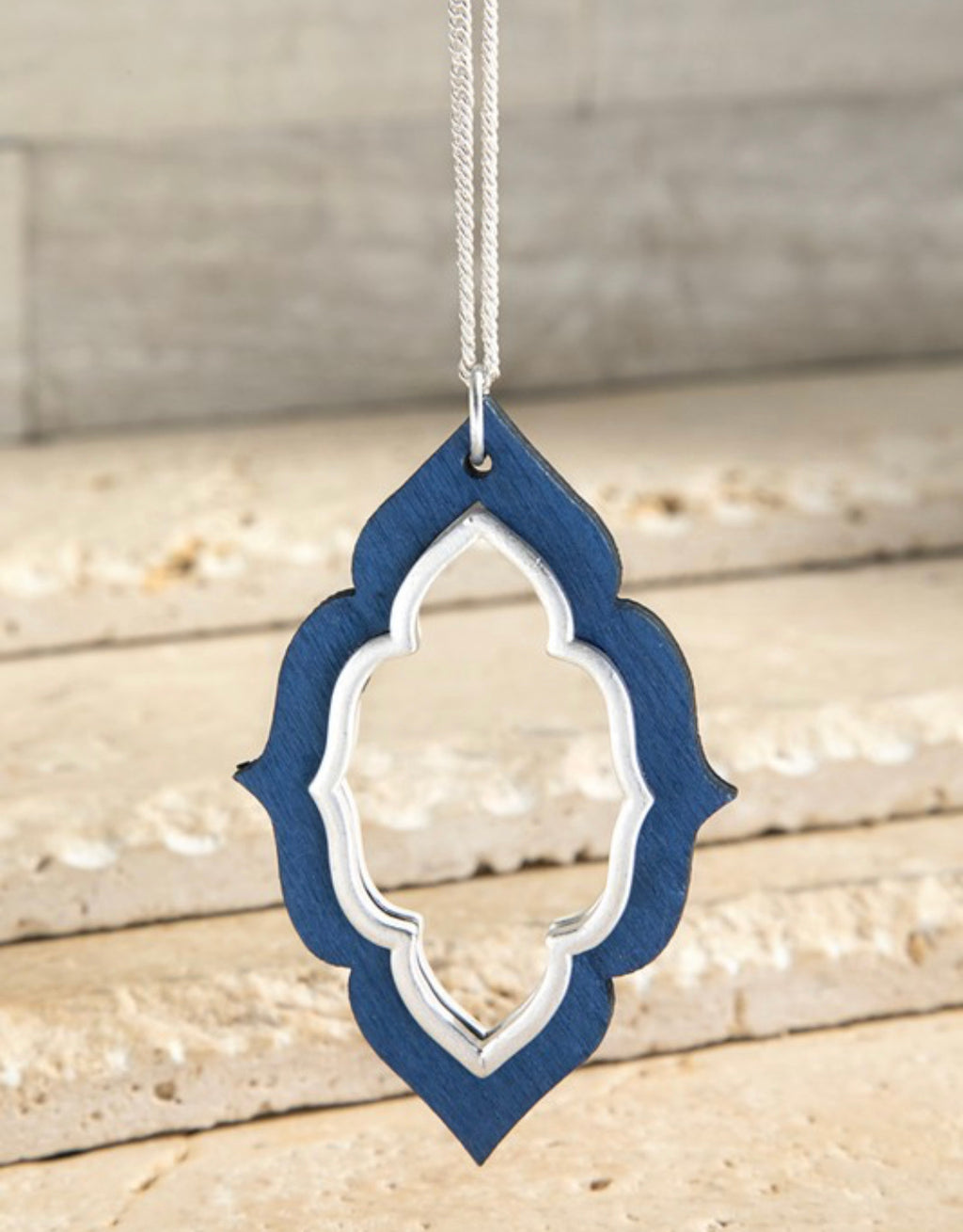 Wooden Marquee Necklace - Navy