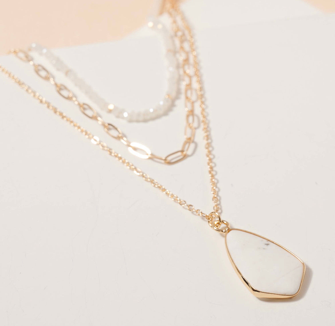 Tear Drop Stone Charm Layered Necklace
