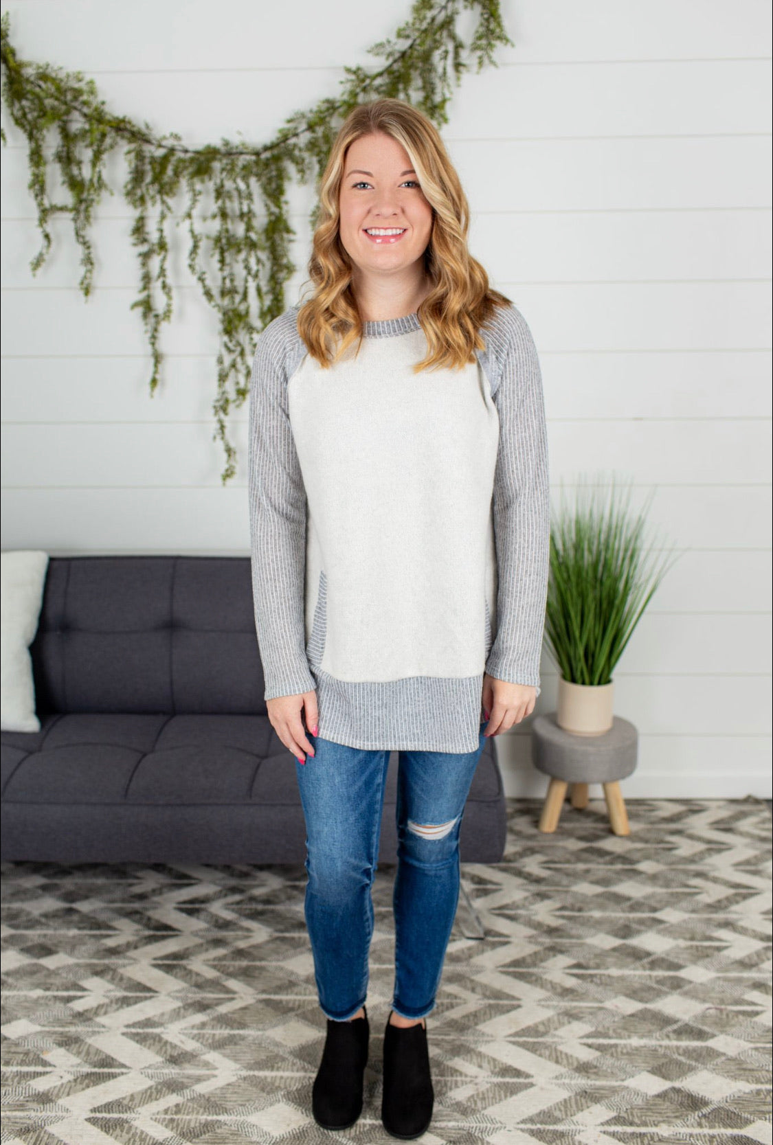 Two Tone Color Block Tunic - Grey Combo