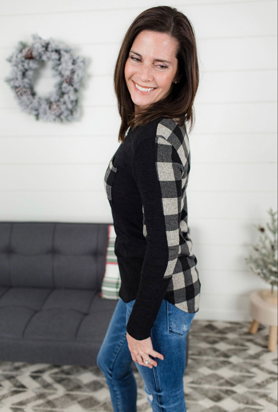 Plaid Pocket Long Sleeve Top - Black/Taupe