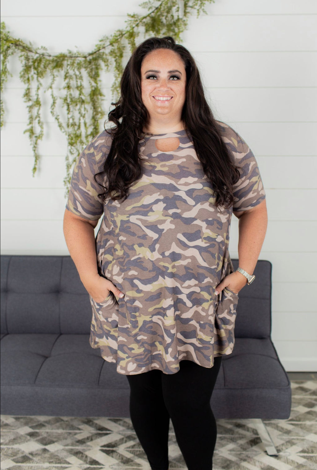 Camo Print Dress With Keyhole - Plus