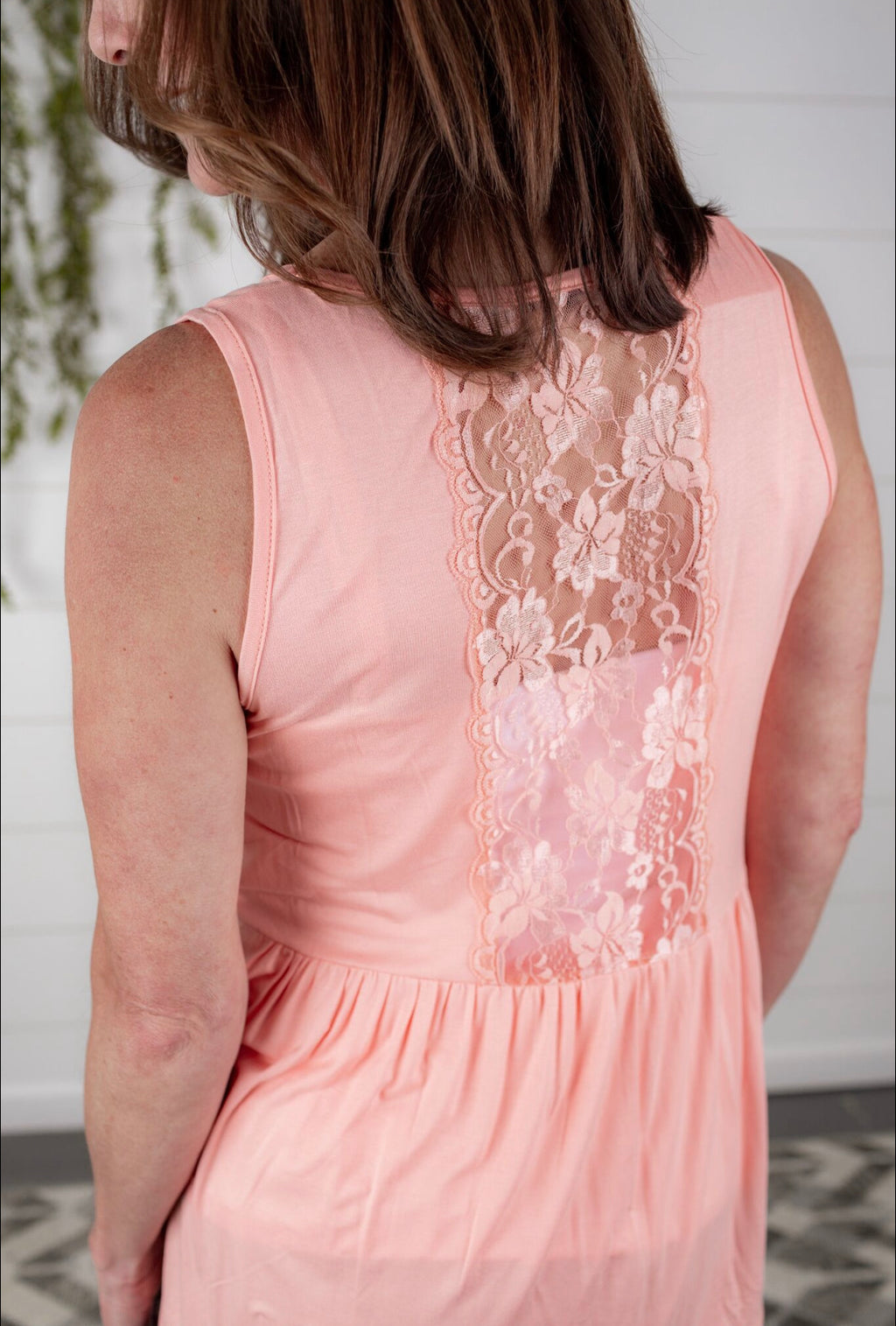 Back Lace Tank - Peach