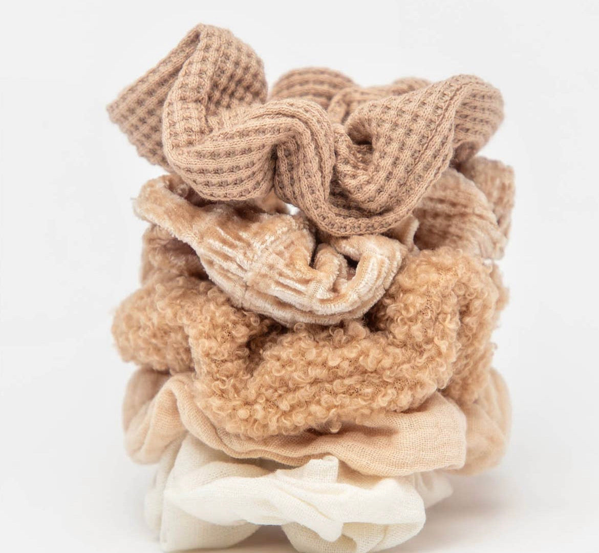 Assorted Textured Scrunchies - 5 piece - Sand