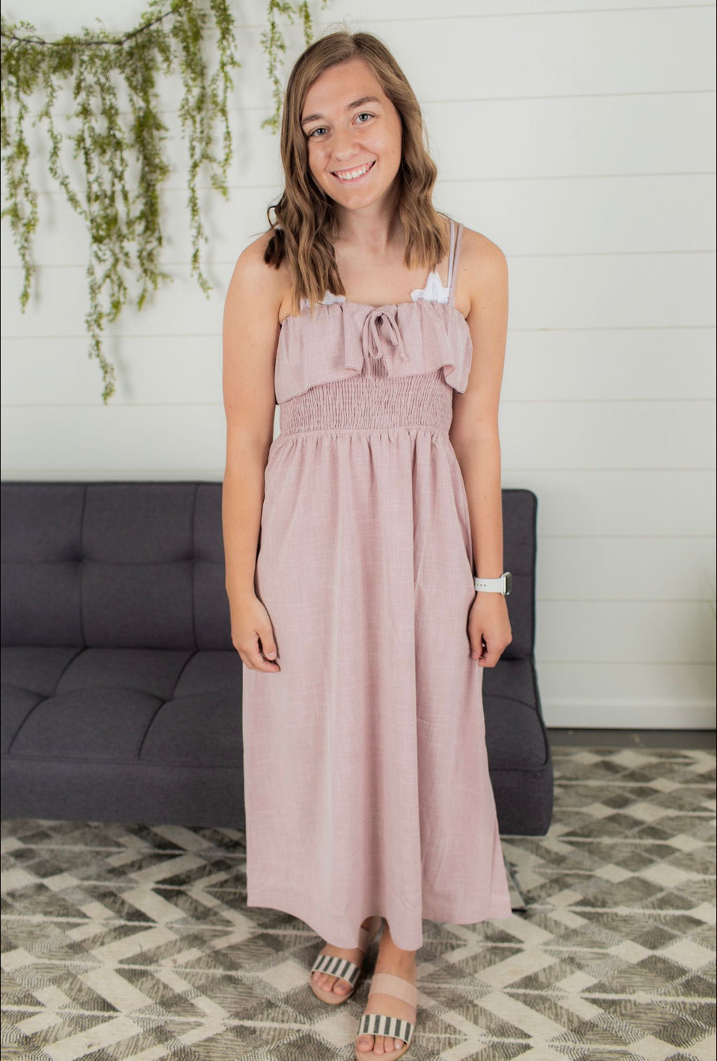 Vintage Ruffle Dress - Blush