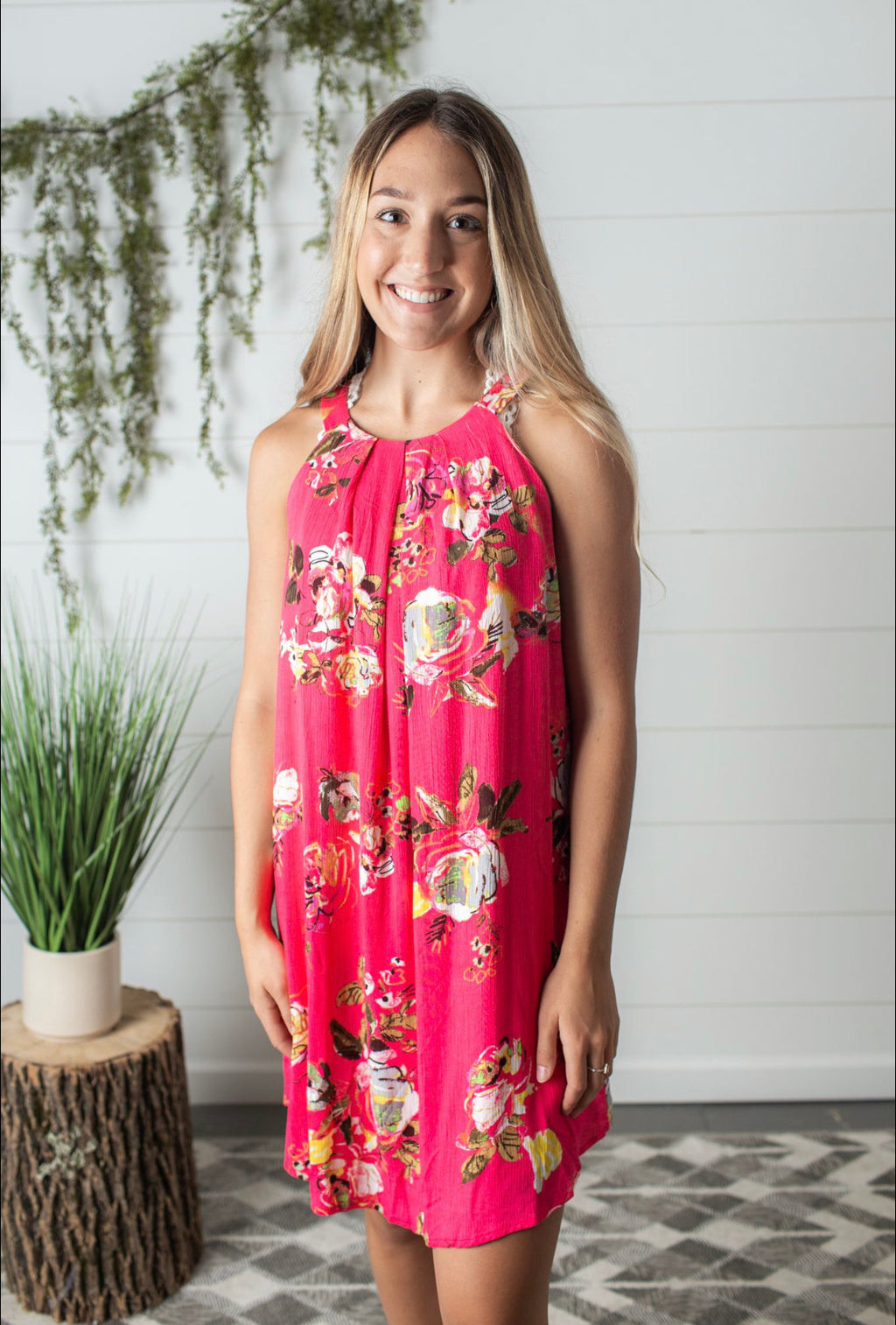 Floral Dress-Coral