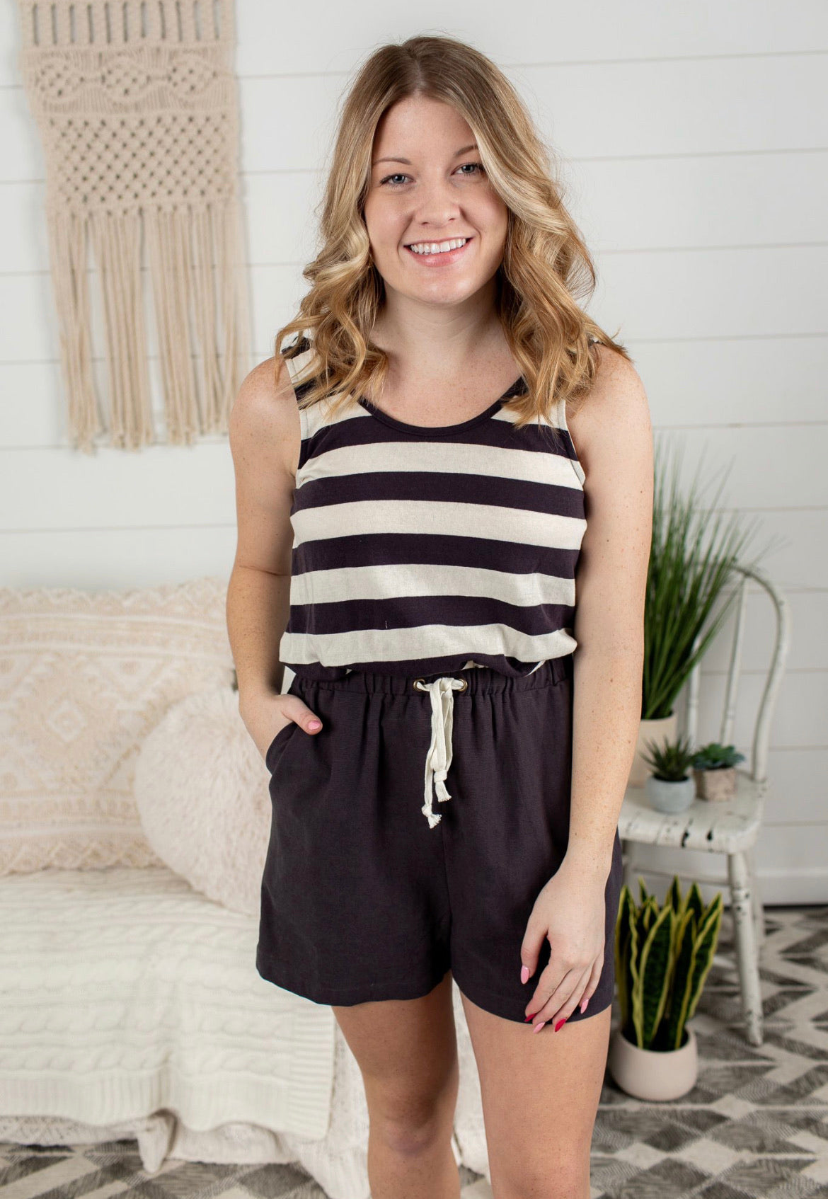 Stripe Romper - Charcoal