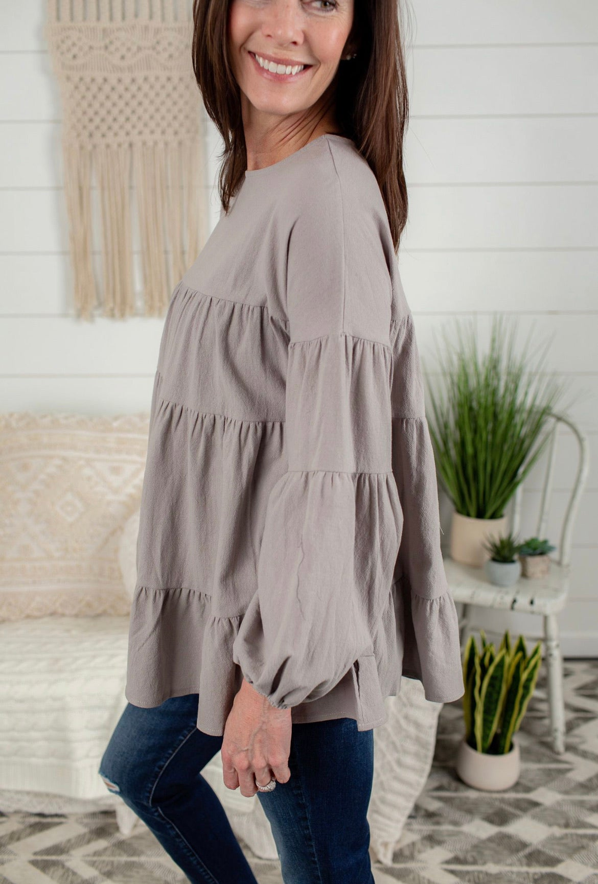 Long Sleeve Babydoll Top - Grey