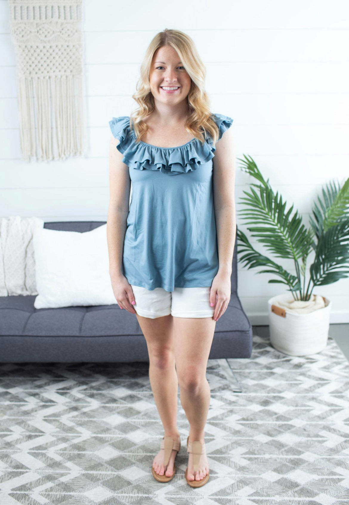 Sleeveless Scoop-Neck With Ruffle Detail - Chambray