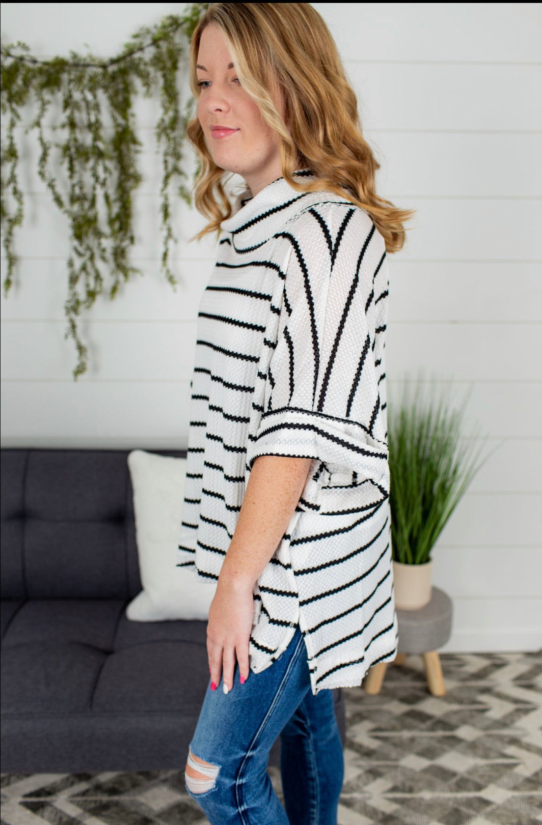 Stripe Boxy Top - Ivory/Black