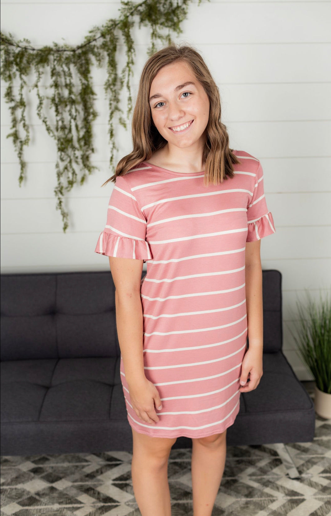 Relaxed Fit Stripe Knit Dress - Mauve