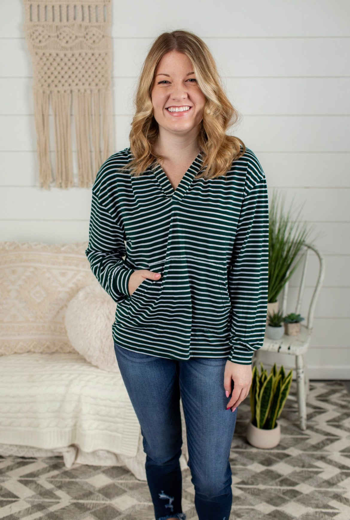 Relaxed V Neck Striped Hoodie - Green