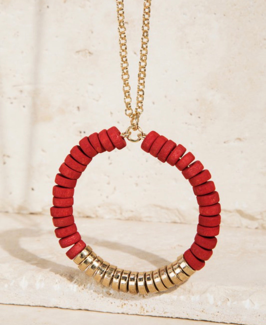 Wood and Satin Metal Bead Necklace - Scarlet
