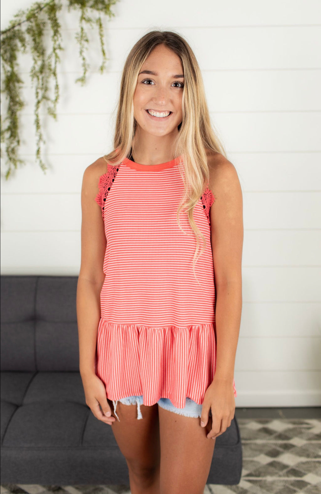 Lace Trim Top - Coral
