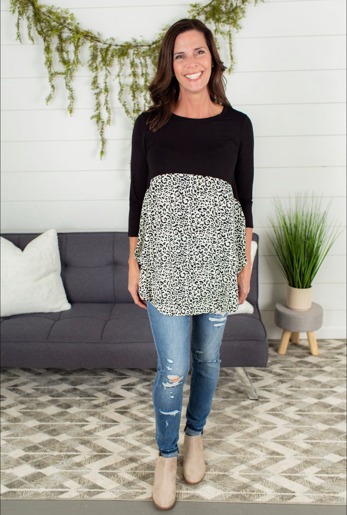 Leopard Baby Doll Tunic Top - Black