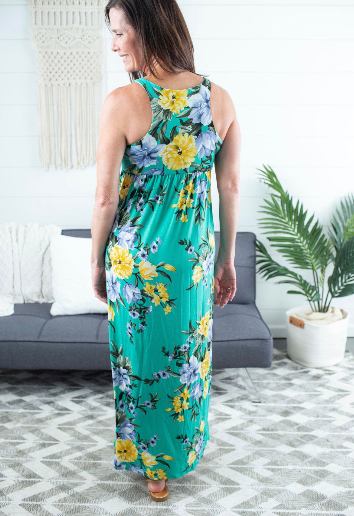 Floral Print Maxi Dress - Kelly Green
