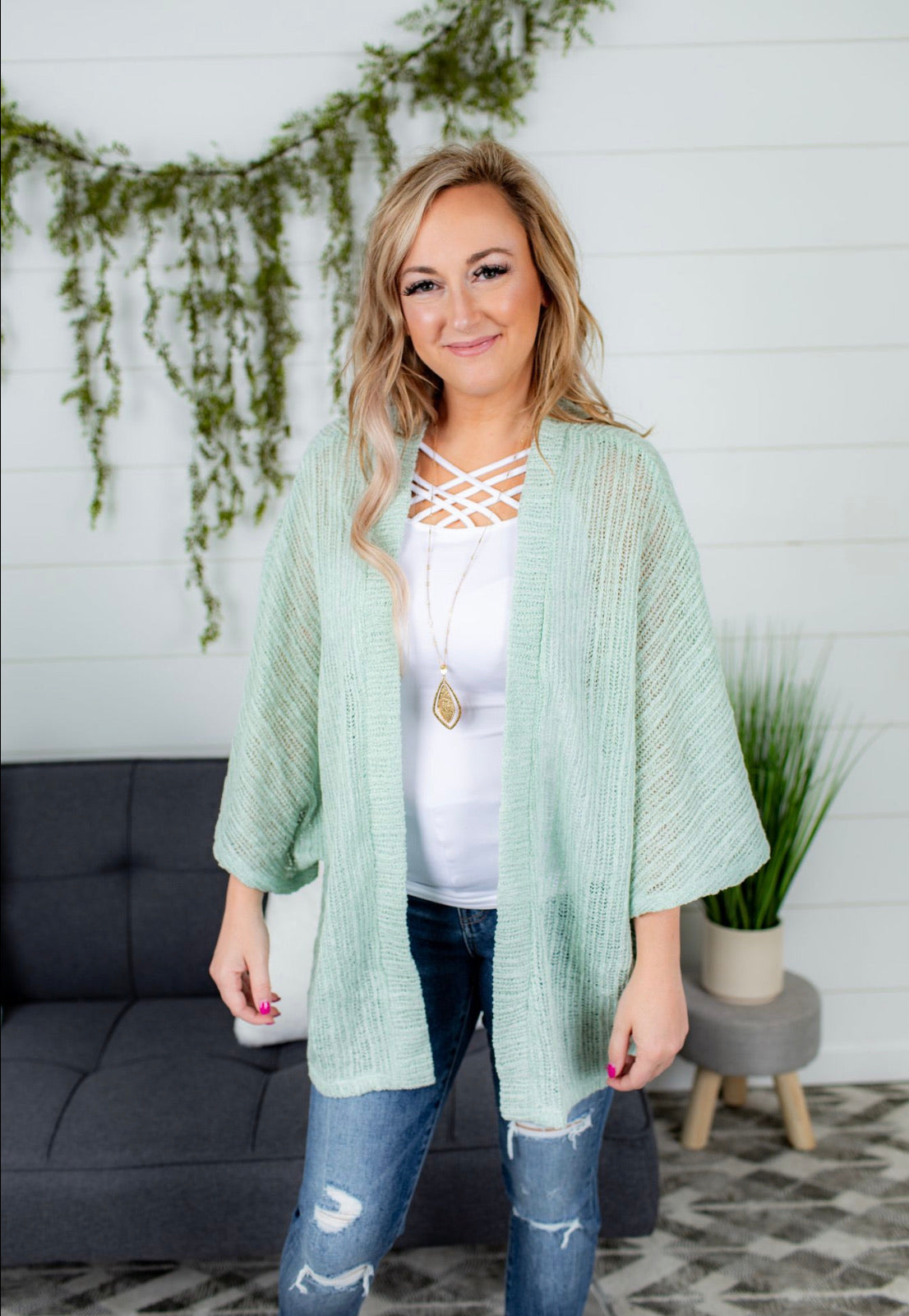 Rib Knit Open Cardigan - Sage