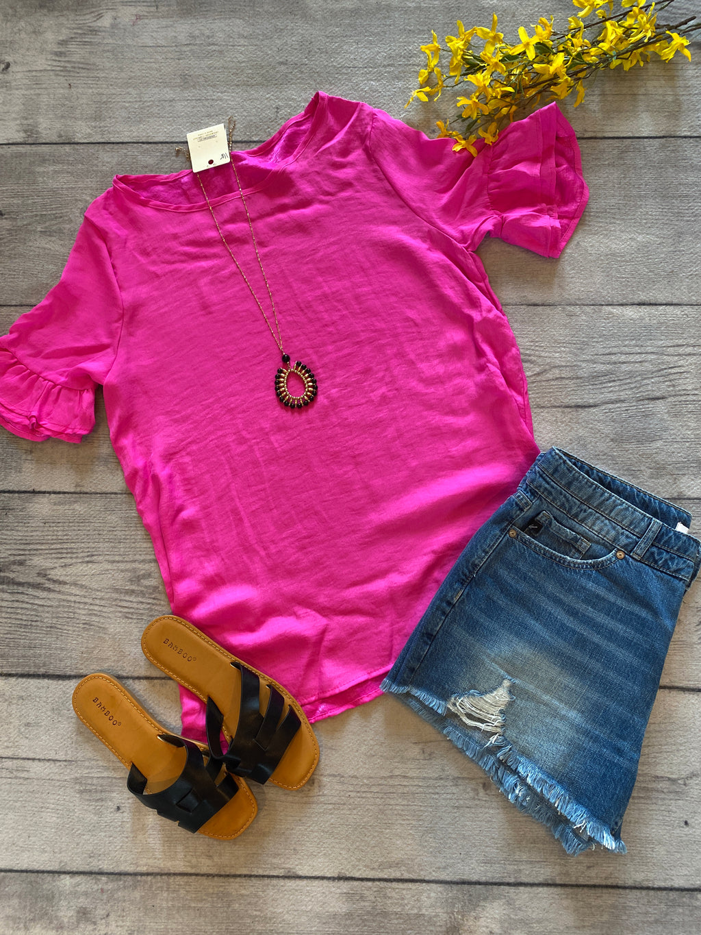 Fuchsia Ruffle Sleeve Top