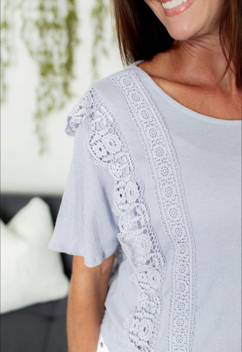 Crochet Lace Detail Top - Faded Blue
