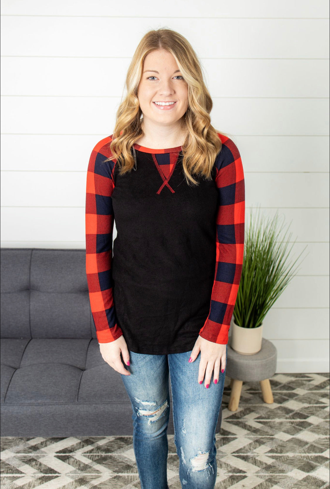 Plaid Contrast Round Neck Top - Black/Red
