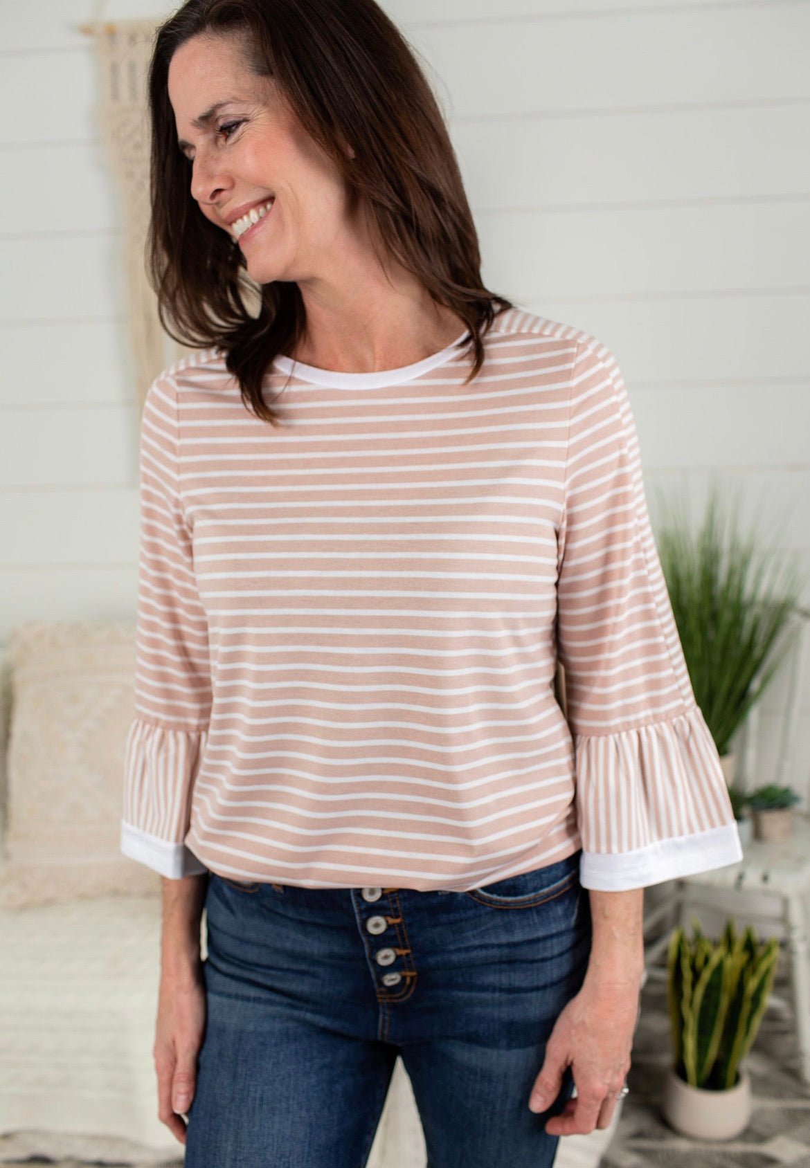Mixed Stripe Top With Flare Sleeves