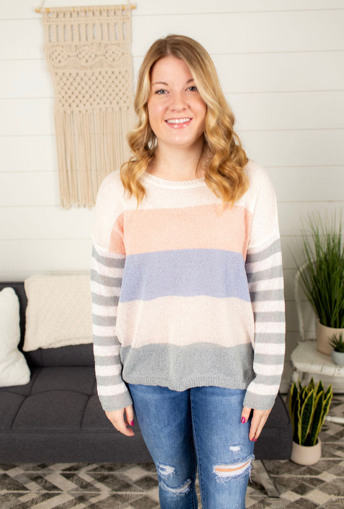 Colorblock Lightweight Sweater