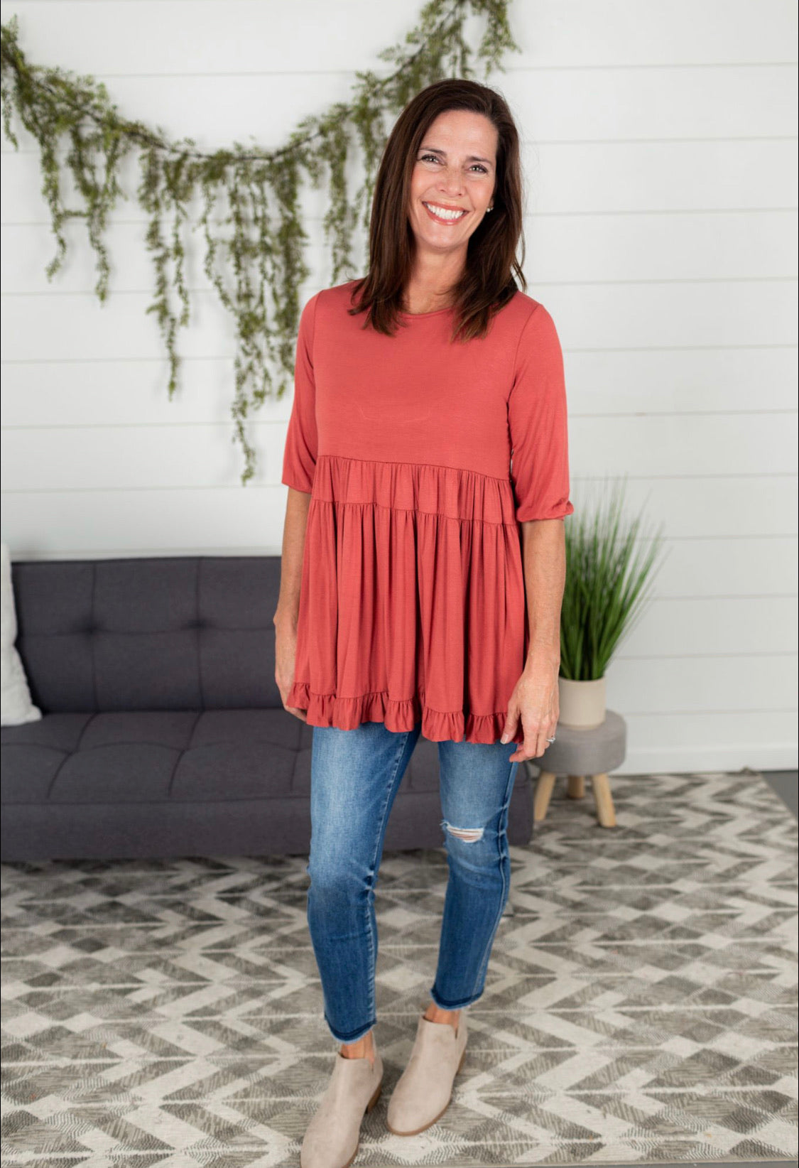 Solid Tiered Tunic Top