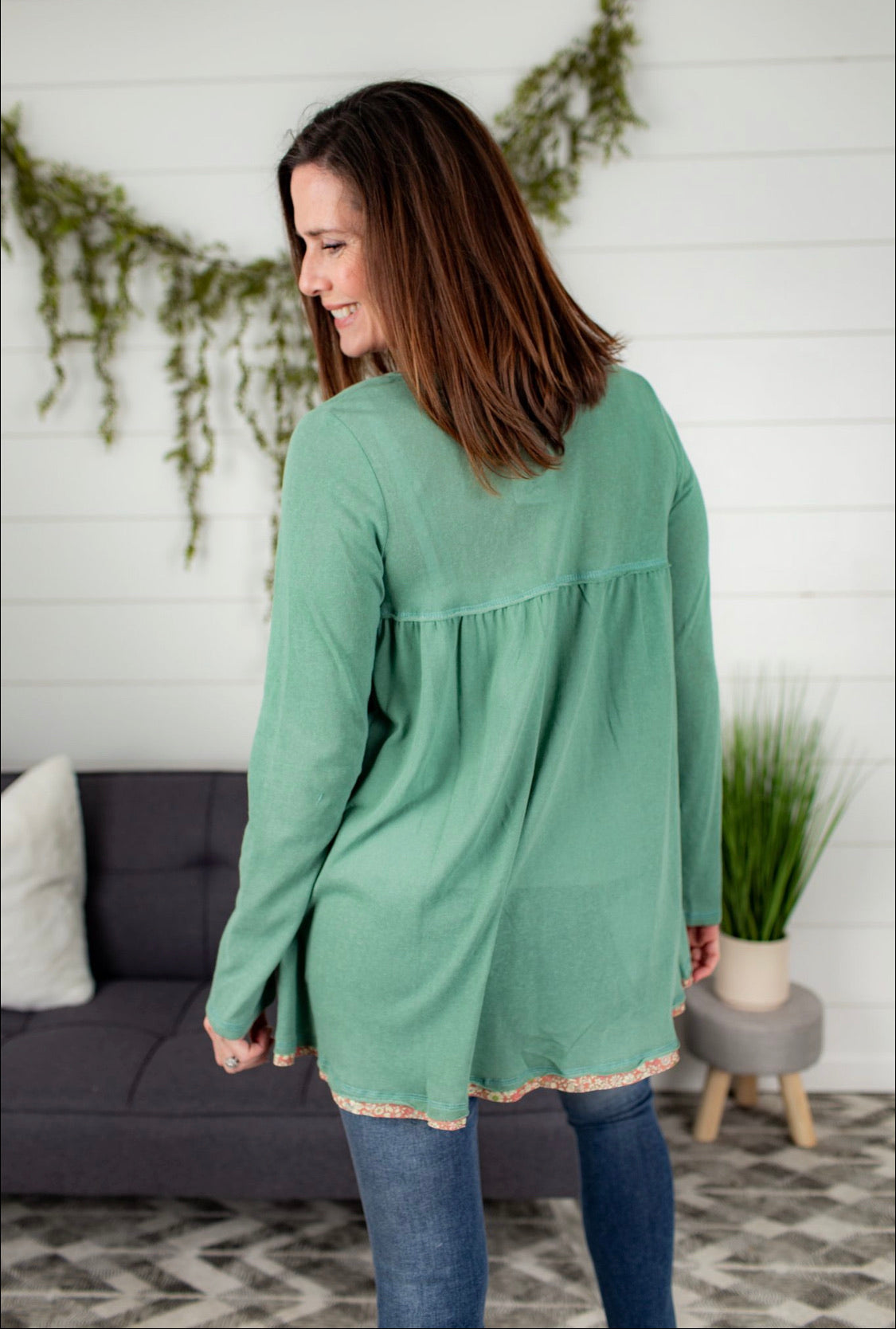 Button Front Henley Tunic - Sage