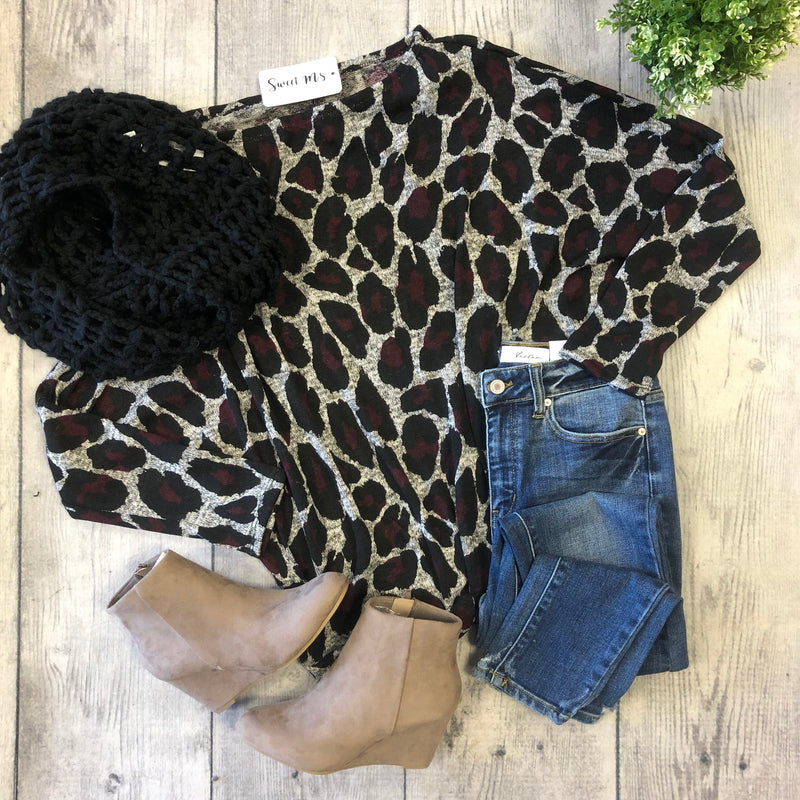 Leopard Print Long Sleeve-H.Grey/Wine